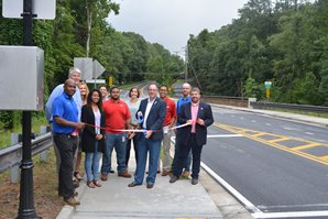 Parsons Road Sidewalk ribbon cutting